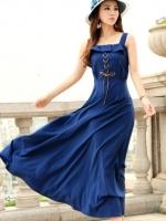 ชุดเดรสยาวสีน้ำเงิน ผ้าไลคร่า