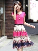 ชุดเดรสยาวสีชมพู กระโปรงพิมพ์ลายดอกไม้ ผ้าชีอง เสื้อแขนสั้น คอกลม แนวหวาน