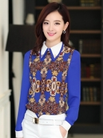 เสื้อทำงานสีน้ำเงิน แขนยาว ผ้าชีฟอง คอปกสีขาว เย็บเลื่อมประดับ สวยเก๋