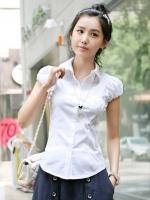 เสื้อทำงานสีขาว คอปก เอวเข้ารูป แขนสั้น แขนตุ๊กตา สวยน่ารัก