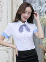เสื้อเชิ้ตทำงานสีขาว แขนสั้นพับแขนสีฟ้า คอปก กระดุมหน้า เอวเข้ารูป