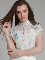 เสื้อทำงานสีขาว ลายดอกไม้ ผ้าชีฟอง แขนสั้น คอเต่า เรียบหรู