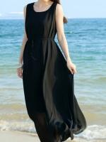 ชุดเดรสใส่ไปทะเลสีดำ ชุดเดรสยาว ผ้าชีฟอง แขนกุด คอกลม มีเชือกผูกเอวเก๋ๆ