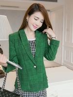 เสื้อสูททำงานสีเขียว แขนยาว คอปก เย็บกระดุมหน้า เอวเข้ารูป สวยหรู