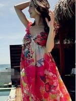 ชุดใส่ไปเที่ยวทะเล พิมพ์ลายดอกไม้สีแดง ผ้าชีฟอง สายเดี่ยว โชว์หลัง เซ็กซี่