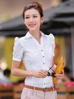 เสื้อเชิ้ตทำงานผู้หญิงสีขาว แขนสั้น ไหล่แต่งระบาย คอปกประดับเลื่อม กระดุมหน้า