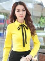 เสื้อเชิ้ตทำงานสีเหลือง แขนยาว คอปก เอวเข้ารุป คอผูกโบว์น่ารัก