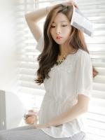 เสื้อทำงานสีขาว ผ้าชีฟอง แขนสั้้น เอวรูด ช่วงคอเย็บผ้าลูกไม้ สวยน่ารัก