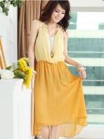 ชุดเดรสยาวสีเหลือง ผ้าชีฟอง คอวี สายเดี่ยว เอวยืด