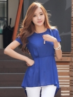 เสื้อทำงานแฟชั่นสีน้ำเงิน คอกลม แขนสั้น ผ้าชีฟอง