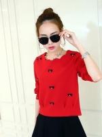 ชุดเซ็ทเสื้อกระโปรง เสื้อแขนยาวสีแดง กระโปรงสีดำ น่ารัก