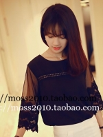 เสื้อทำงานสีดำ ผ้าชีฟอง แขนสามส่วน ช่วงแขนเย็บผ้าลูกไม้ สวยหวาน