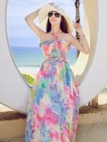ชุดใส่ไปเที่ยวทะเลลายดอกไม้ ชุดเดรสยาว ชุดโบฮีเมียน สายคล้องคอ เปิดหลัง สีสันสดใส