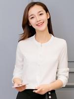 เสื้อทำงานผู้หญิงสีขาว แขนยาว 4-151RX-ขาว