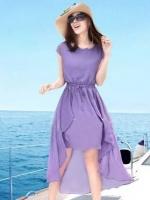 ชุดใส่ไปเที่ยวทะเลสีม่วง ผ้าชีฟอง เอวยืด คอกลม แขนสั้น กระโปรงหน้าสั้นหลังยาว