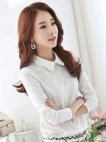 เสื้อเชิ้ตทำงานสีขาว แขนยาว ผ้าชีฟอง คอบัว ประดับผ้าลูกไม้ สวยหรู
