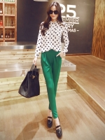 กางเกงขายาวแฟชั่น สีเขียว ผ้าโพลีเอสเตอร์ จะใส่ทำงาน หรือ ชุดลำลองก็สวยเก๋