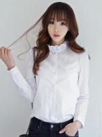 เสื้อทำงานแฟชั่นสีขาว คอระบาย แขนยาว กระดุมหน้า แนวน่ารัก