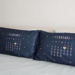ปลอกหมอนหนุนคู่ พิมพ์ลายเต็มผืน ลาย Calendar 2018 - Navy