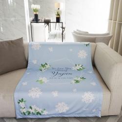ผ้าห่ม ใส่ชื่อ ลาย Jasmine - Hexagon - Blue ไซส์ใหญ่ 100x150cm