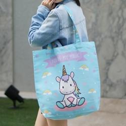 กระเป๋าผ้าแคนวาสพร้อมส่ง ลาย Unicorn - Blue