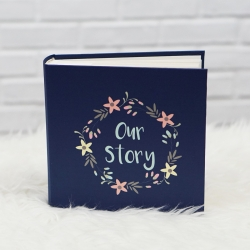 """อัลบั้ม 100 รูป (5x7"""") พร้อมส่ง ข้อความ Our Story ลาย Flower Frame - Navy"""