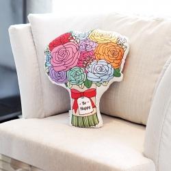 หมอนช่อกุหลาบ Be Happy Colourful Rose Bouquet