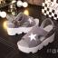 รองเท้าส้นเตารีดสไตล์แฟชั่นเกาหลีลายดาว (สีดำ) thumbnail 3
