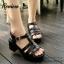 พร้อมส่ง : รองเท้าStyle nanda Shoesหน้าสาน (สีดำ) thumbnail 2
