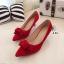 รองเท้าคัทชูโบว์กำมะหยี่ (สีแดง) thumbnail 1