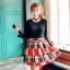 ชุดเดรสสั้น เสื้อสีดำ แขนยาว กระโปรงสีแดงดำ รหัสสินค้า 8-8943-ดำ thumbnail 1