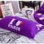 (Pre-order) ชุดผ้าปูที่นอน ปลอกหมอน ปลอกผ้าห่ม ผ้าคลุมเตียง ผ้าโพลีเอสเตอร์พิมพ์ลาย I LOVE PARIS สีม่วง-ขาว thumbnail 3