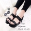 รองเท้าส้นเตารีดเมจิกเทปแต่งลาย (สีดำ) thumbnail 2