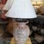 โคมไฟตั้งโต๊ะ ทำจากแจกันดินเผาด่านเกวียน ลายช้าง สีโคลนน้ำตาล-แดง thumbnail 1