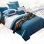 (Pre-order) ชุดผ้าปูที่นอน ปลอกหมอน ปลอกผ้าห่ม ผ้าคลุมเตียง ผ้าไหม ผ้าซาติน และผ้าฝ้าย สีฟ้าขาว แบบทูโทน thumbnail 2