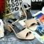พร้อมส่ง : รองเท้าส้นตึกผ้าซาติน (สีครีม) thumbnail 2