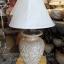 โคมไฟตั้งโต๊ะ ทำจากแจกันดินเผาด่านเกวียน ลายดอกไม้ สีโคลนน้ำตาล-แดง thumbnail 1