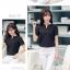 เสื้อทำงานสีดำ แขนสั้น สำหรับวันสบายๆ รหัสสินค้า 10-S2205-ดำ thumbnail 3