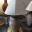 โคมไฟตั้งโต๊ะ ทำจากแจกันดินเผาด่านเกวียน แกะลายใบโพธิ์ ทรงโอ่งน้ำ สีโคลนน้ำตาล thumbnail 1