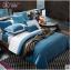 (Pre-order) ชุดผ้าปูที่นอน ปลอกหมอน ปลอกผ้าห่ม ผ้าคลุมเตียง ผ้าไหม ผ้าซาติน และผ้าฝ้าย สีฟ้าขาว แบบทูโทน thumbnail 1