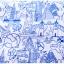 (Pre-order) ชุดผ้าปูที่นอน ปลอกหมอน ปลอกผ้าห่ม ผ้าคลุมเตียง ผ้าโพลีเอสเตอร์พิมพ์ลายการ์ตูนแฟนซีลายเส้นสีฟ้าขาว thumbnail 3