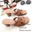 รองเท้าส้นตันเปิดส้น Style YSL (สีครีม) thumbnail 3