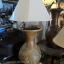โคมไฟตั้งโต๊ะ โคมไฟดินเผาด่านเกวียน ทำจากแจกันดินเผาด่านเกวียน แกะลายช้างสีน้ำตาล thumbnail 1