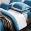 (Pre-order) ชุดผ้าปูที่นอน ปลอกหมอน ปลอกผ้าห่ม ผ้าคลุมเตียง ผ้าไหม ผ้าซาติน และผ้าฝ้าย สีฟ้าขาว แบบทูโทน thumbnail 4