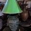 โคมไฟตั้งโต๊ะ โคมไฟดินเผาด่านเกวียน ทำจากแจกันดินเผาด่านเกวียน แกะลายดอกไม้ สีโคลนเขียว thumbnail 1
