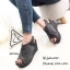 รองเท้าส้นเตารีดหนังกลับสไตล์ลำลอง (สีดำ) thumbnail 5