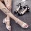 รองเท้าส้นตันแต่งมุกสไตล์ Gucci (สีดำ) thumbnail 5