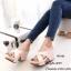รองเท้าส้นเตารีดหนังนิ่มสายไข้ว (สีครีม) thumbnail 1