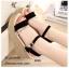 รองเท้าส้นเตารีดแต่งสายคาดทอง (สีดำ) thumbnail 1