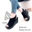 รองเท้าส้นเตารีดหนังกลับสไตล์ลำลอง (สีดำ) thumbnail 2